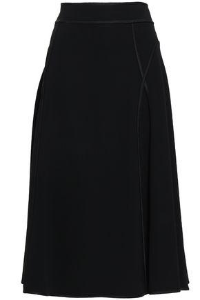 ALEXANDER WANG Satin-trimmed crepe midi skirt