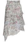 IRO Asymmetric ruffled snake-print fil coupé silk-blend skirt