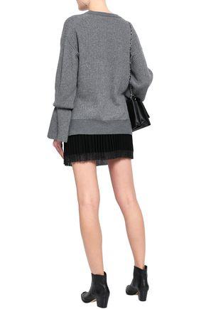 ALEXANDER WANG Pleated stretch-knit mini skirt