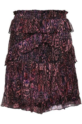IRO Gerill ruffled printed georgette mini skirt