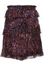 IRO Gerill ruffled printed georgette mini skirt