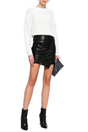 IRO Ruched leather mini skirt