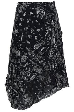 IRO Banem asymmetric printed crepe de chine skirt