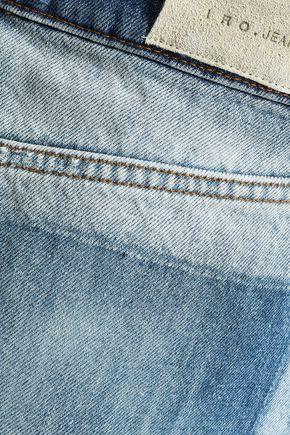 IRO Frayed two-tone denim mini skirt