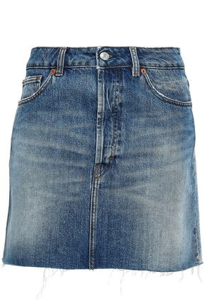 IRO Frayed two-tone denim mini skirt