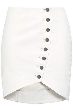 IRO Button-detail leather mini skirt