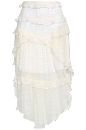 IRO Ruffle-trimmed metallic jacquard skirt