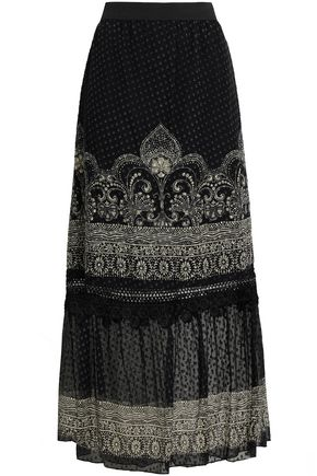 ANNA SUI Fil coupé silk-blend maxi skirt