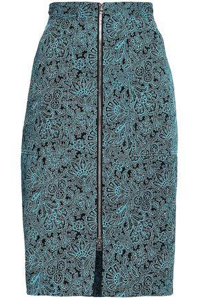 DIANE VON FURSTENBERG Zip-detailed printed stretch-cotton skirt