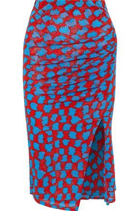 DIANE VON FURSTENBERG Ruched printed stretch-jersey skirt