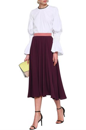 ROKSANDA Gathered crepe midi skirt