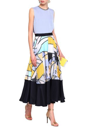 ROKSANDA Paneled jacquard and silk-blend midi skirt