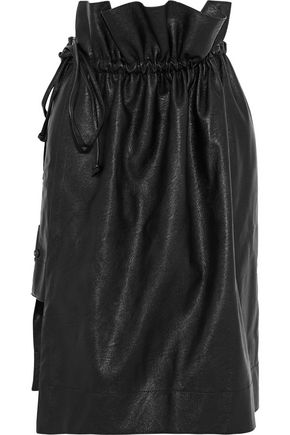 STELLA McCARTNEY Wrap-effect layered faux-leather skirt