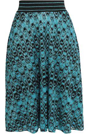 MISSONI Flared metallic crochet-knit skirt
