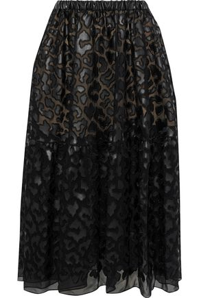 STELLA McCARTNEY Animalier faux leather-appliquéd chiffon midi skirt