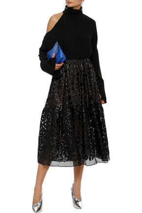STELLA McCARTNEY Animalier faux leather-appliquéd chiffon midi skirt