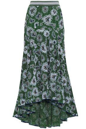 MISSONI Embroidered metallic crochet-knit midi skirt