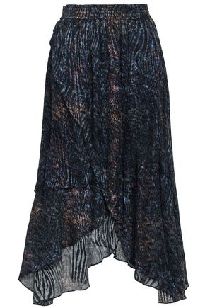 IRO Elook wrap-effect devoré-chiffon midi skirt