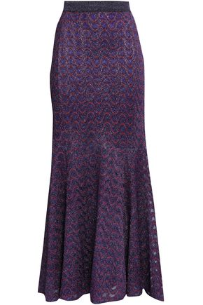 MISSONI Flared metallic crochet-knit maxi skirt