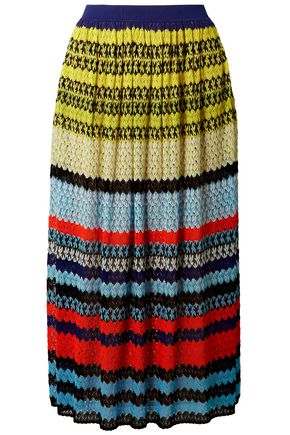 MISSONI Striped crochet-knit midi skirt