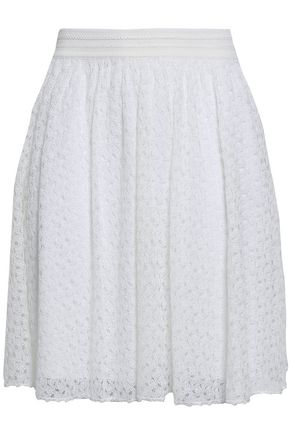 MISSONI Pleated crochet-knit mini skirt