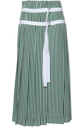 JOSEPH Pleated striped silk midi wrap skirt