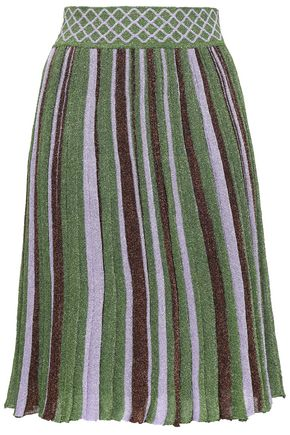 MISSONI Metallic striped stretch-knit skirt