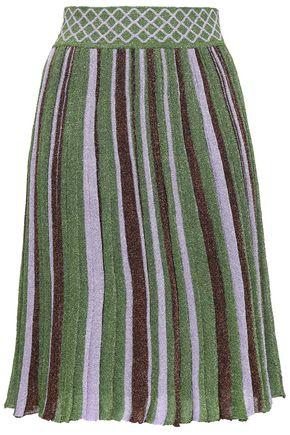 MISSONI Metallic striped stretch-knit skirt