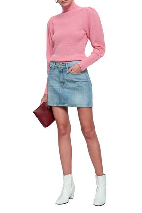 FRAME Faded denim mini skirt