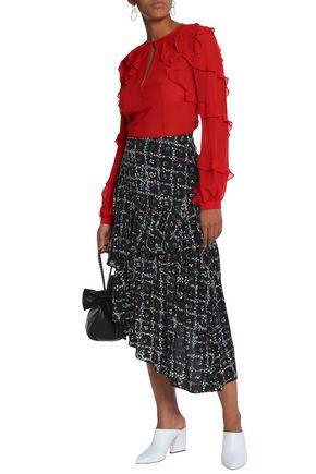 PREEN LINE Asymmetric floral-print crepe de chine midi skirt