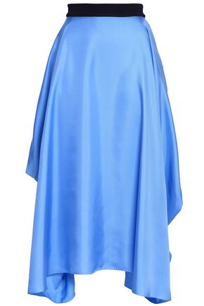 ROKSANDA Asymmetric silk satin-twill midi skirt