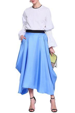 ROKSANDA Asymmetric satin-twill midi skirt