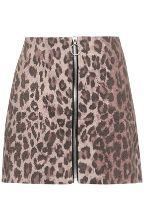 NICHOLAS Zip-detailed leopard-print stretch-cotton twill mini skirt