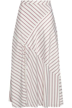 NICHOLAS Paneled striped satin-crepe midi skirt