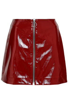 NICHOLAS Zip-detailed vinyl mini skirt