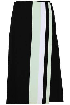 VICTORIA, VICTORIA BECKHAM Striped wool-gabardine wrap skirt