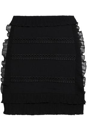 IRO Ruffled plissé gauze-trimmed crepe de chine mini skirt