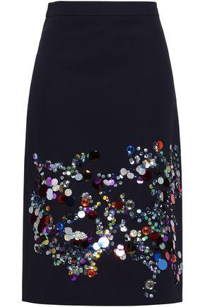VICTORIA, VICTORIA BECKHAM Embellished crepe skirt