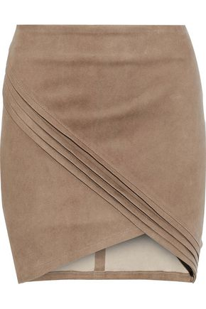 RTA Pleated suede mini skirt