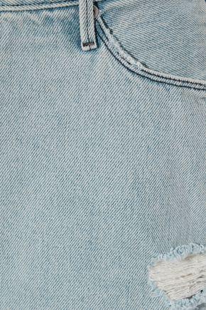 RTA Distressed denim mini skirt