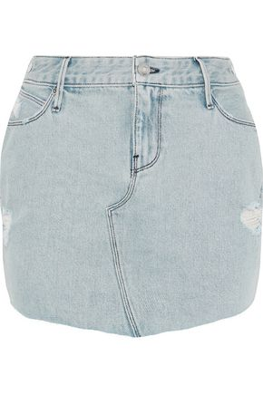 RTA Distressed denim mini skirt