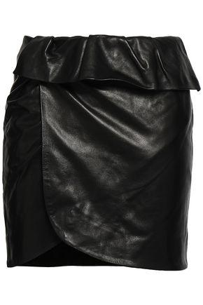 IRO Wrap-effect leather mini skirt