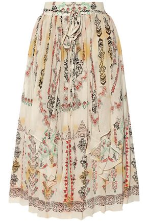 ETRO Printed crinkled silk-chiffon midi skirt