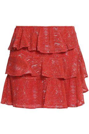 IRO Ivona tiered printed cotton-gauze mini skirt