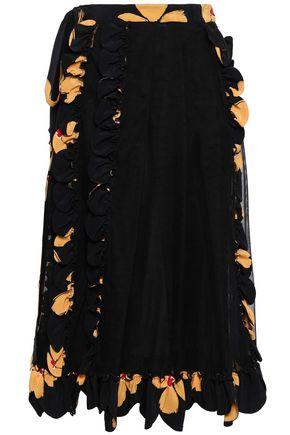 SIMONE ROCHA Paneled silk-tulle and crepe de chine midi skirt