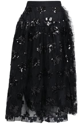 SIMONE ROCHA Sequined embroidered tulle midi wrap skirt