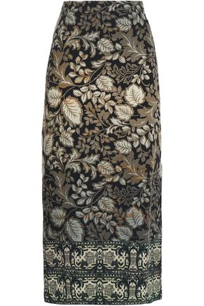 ETRO Floral-print wool-crepe midi skirt