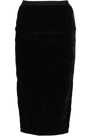 RICK OWENS Cotton and silk-blend velvet pencil skirt