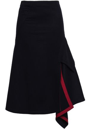 VICTORIA BECKHAM Draped satin-trimmed wool-felt midi skirt