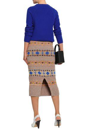 VICTORIA BECKHAM Jacquard-knit midi pencil skirt